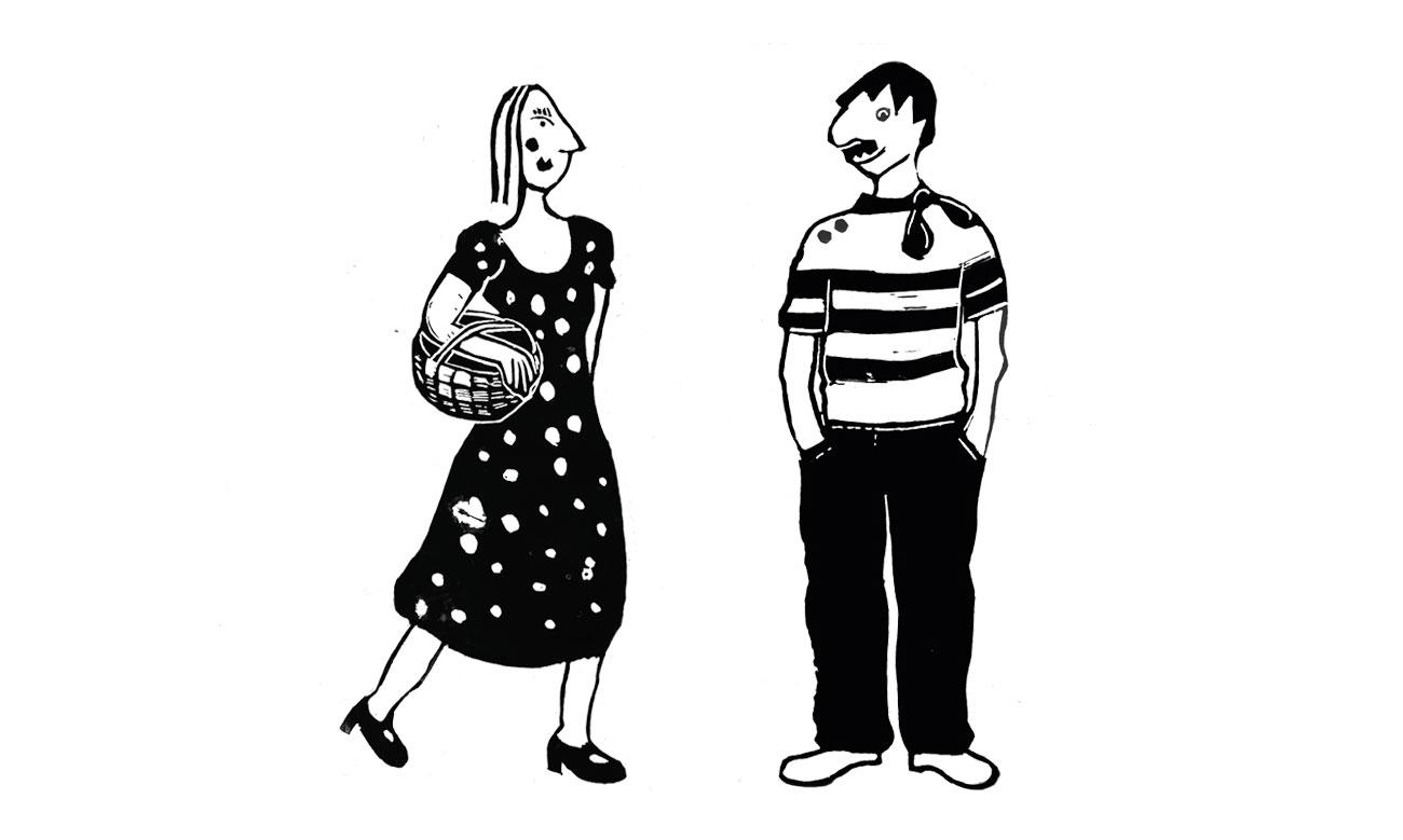Illustration packaging dessin noir-blanc d'une femme avec un panier sous le bras avec un homme moustachu qui porte un pull à rayures et un foulard