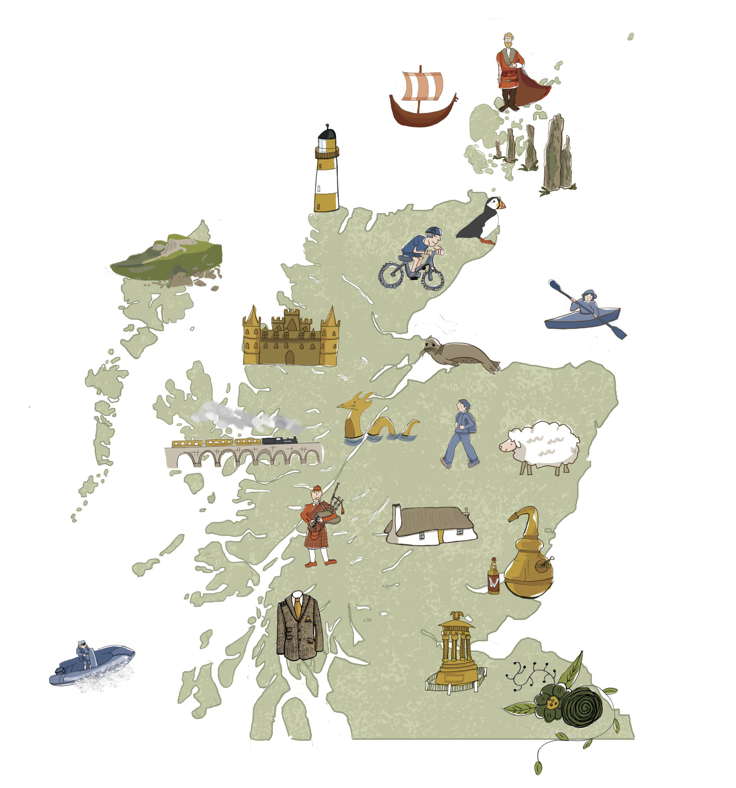 Carte illustrée de l'Ecosse