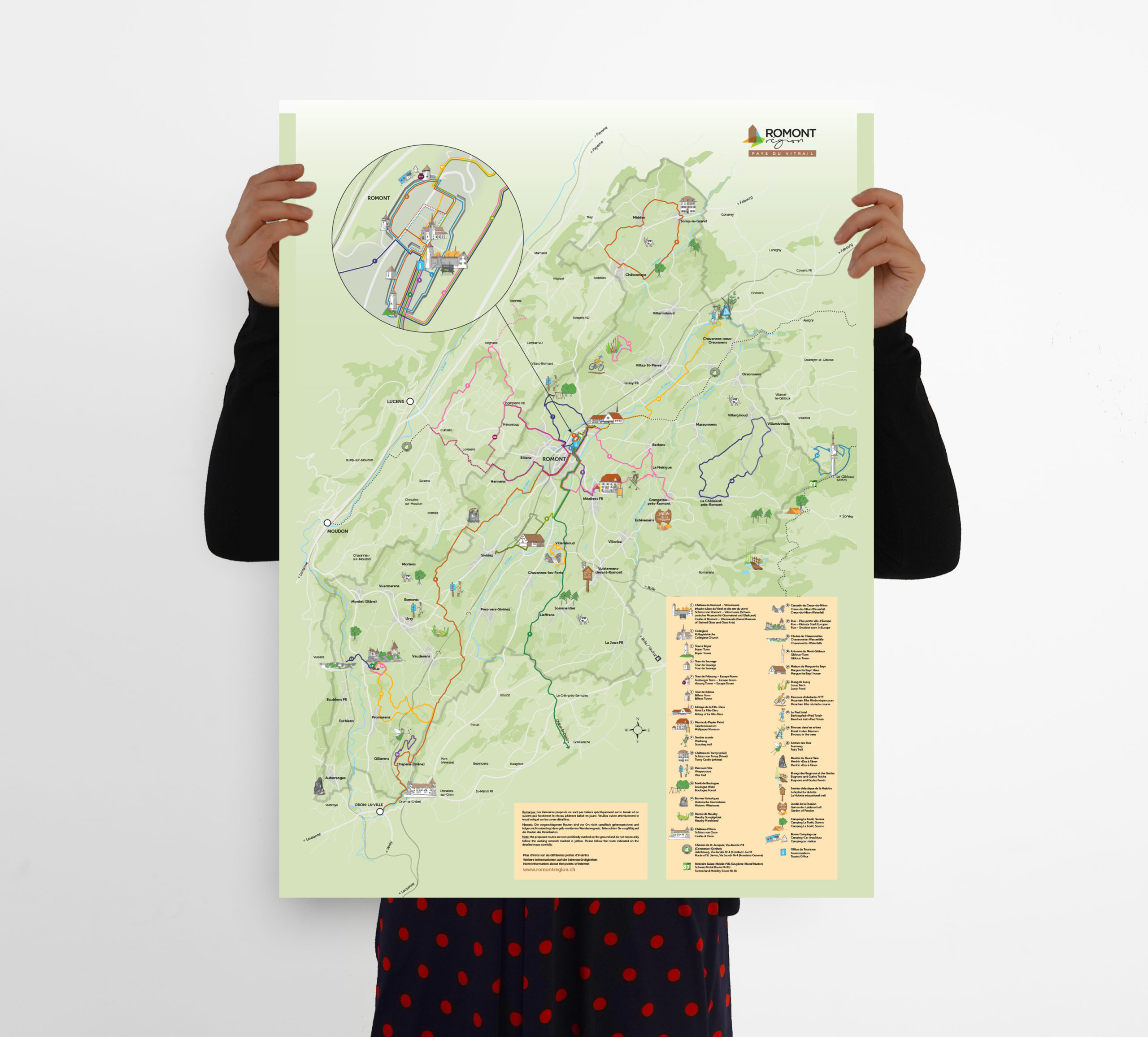 Carte touristique illustrée Romont 2021
