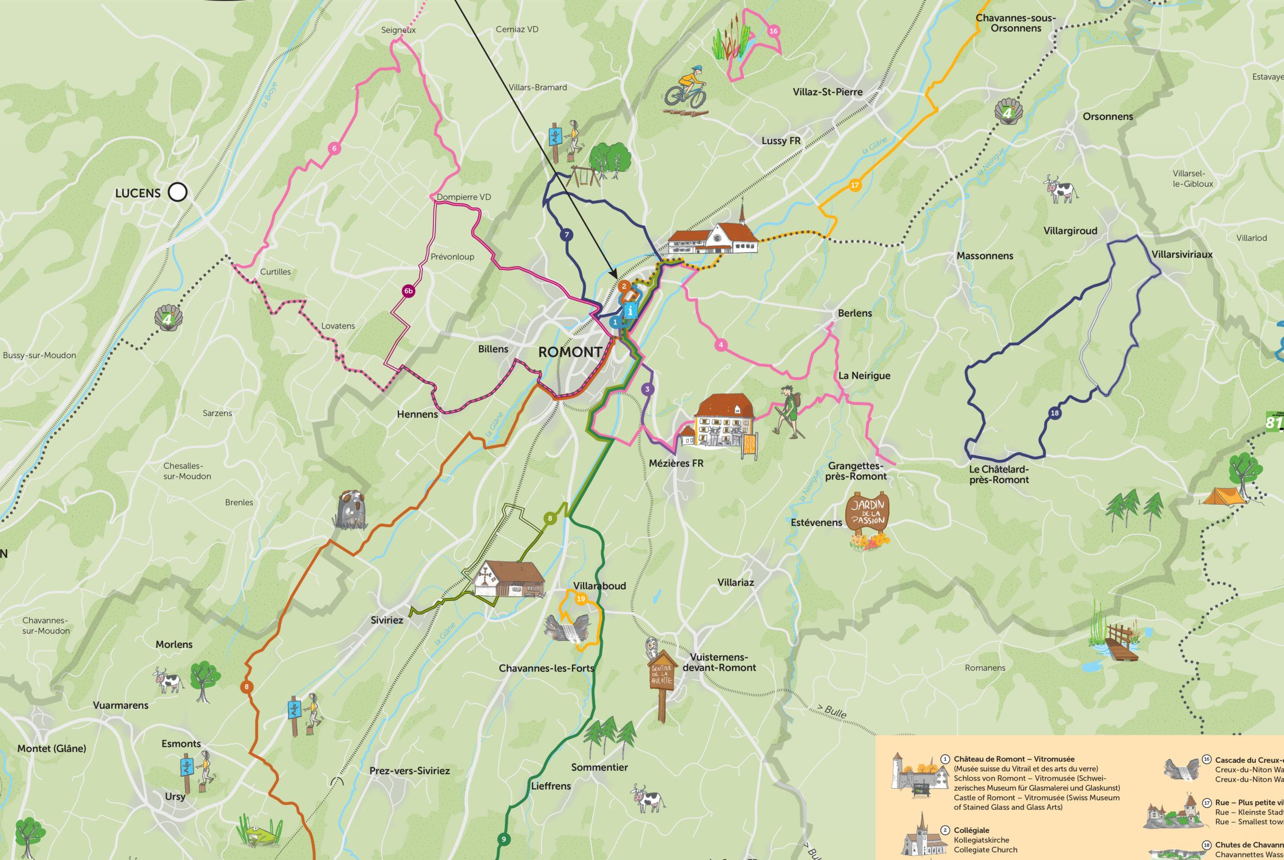 Carte illustrée touristique Romont détails