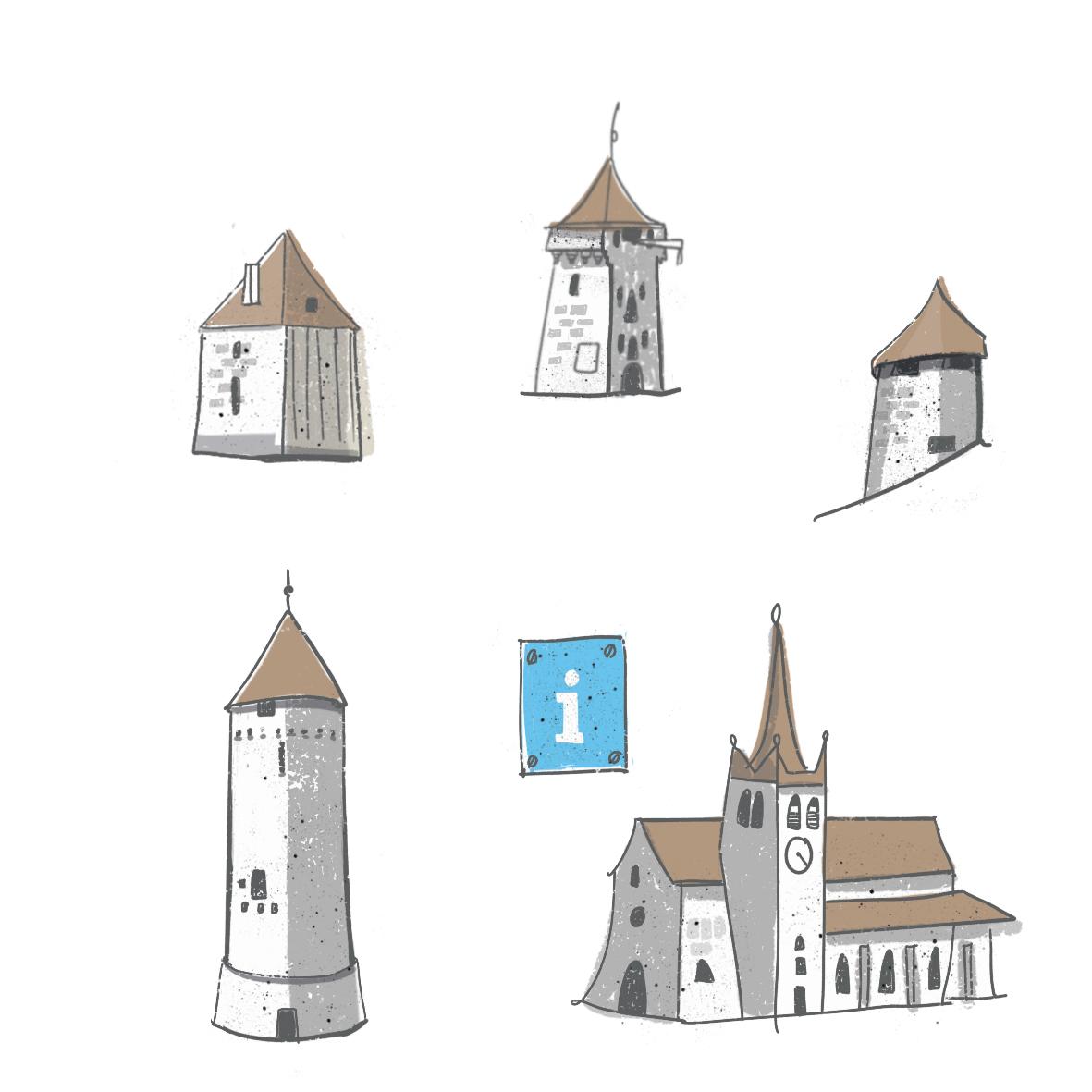 Bâtiments historique de Romont illustrés