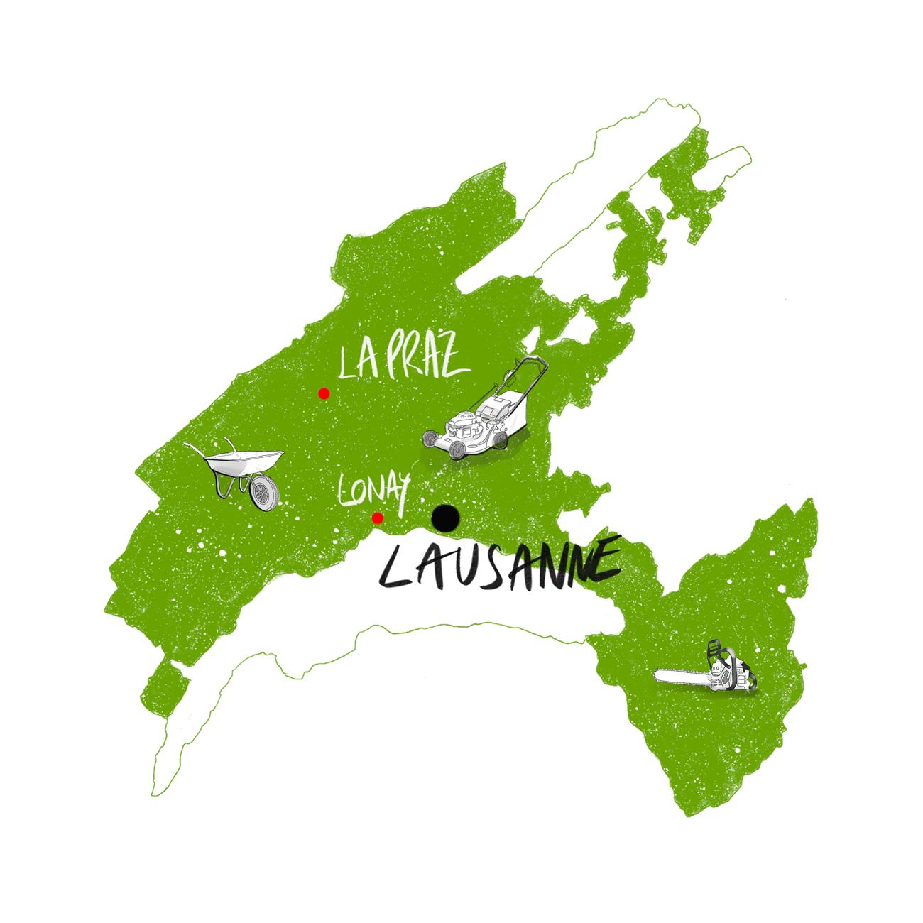 Plan illustré du Canton de Vaud - Sordet Paysagiste