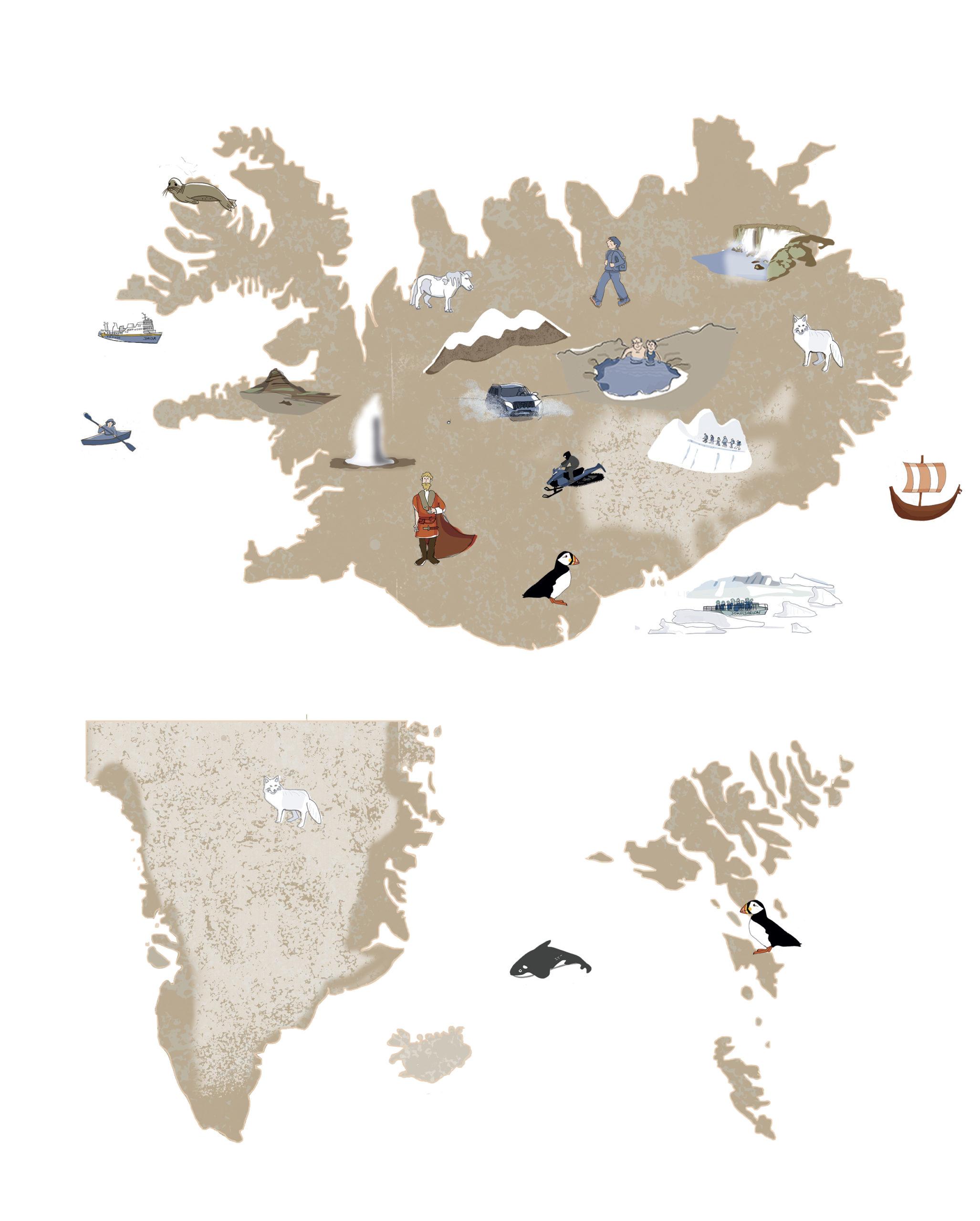 Carte Illustrée Islande