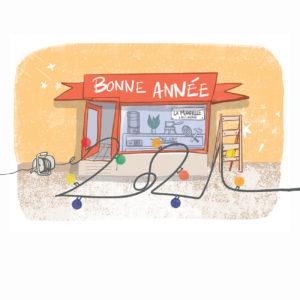 Illustration carte de voeux La Manivelle dessin
