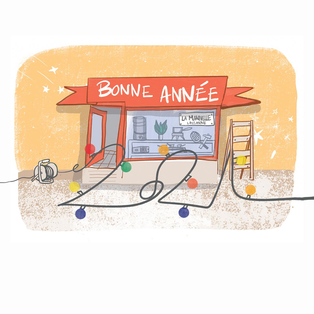 Illustration carte de voeux La Manivelle