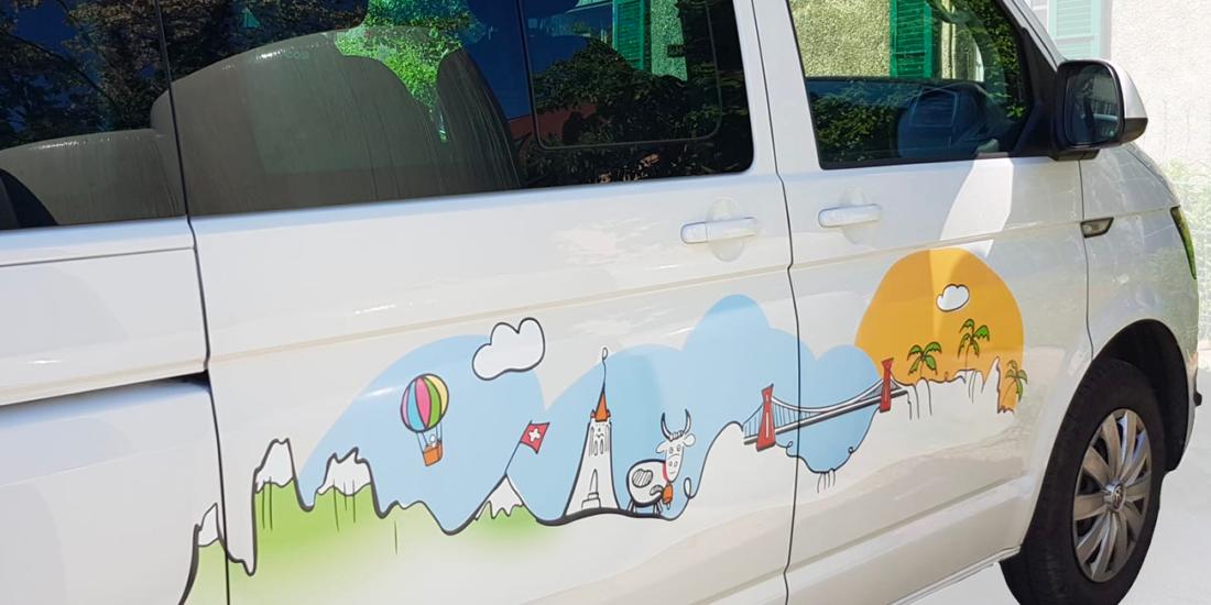 dessin illustration camping car bus van aménagé