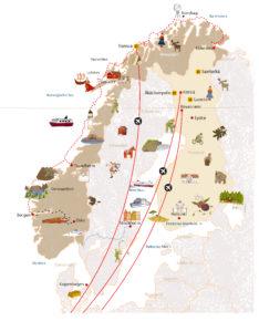 Carte découverte illustrée Scandinavie dessin pictogramme