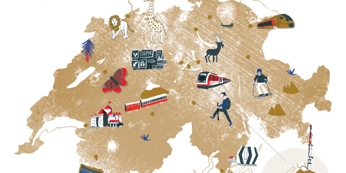 Carte touristique illustrée suisse