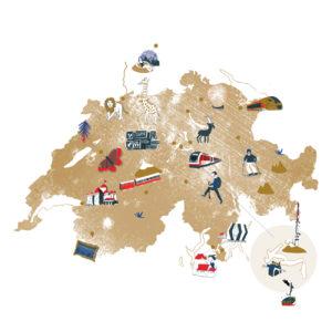 Carte touristique illustrée suisse dessin Railaway