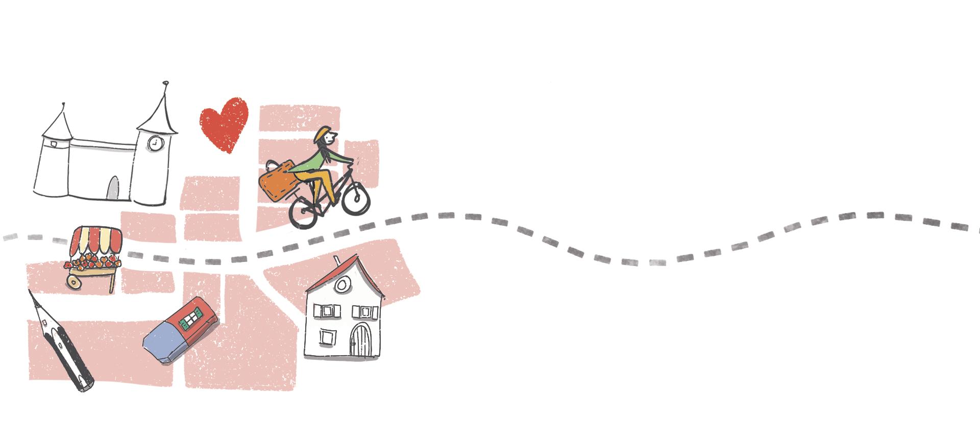 dessin illustration parcours Laetitia Chapuis Morges vélo valise crayon