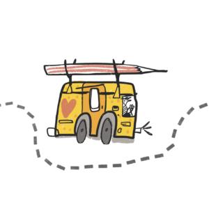 pictogramme dessin illustration camping car crayon