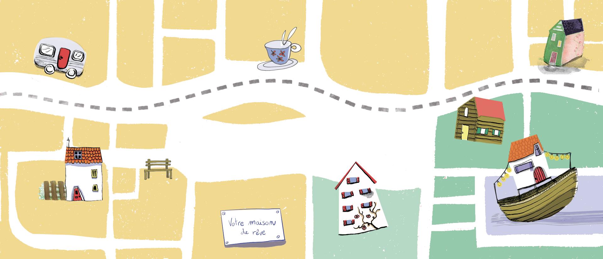 dessin illustration camping car chemin votre maison de rêve